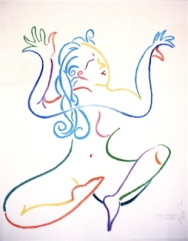 drawing by Janice Sandeen -Body Prayer - Bhakti, cc2000